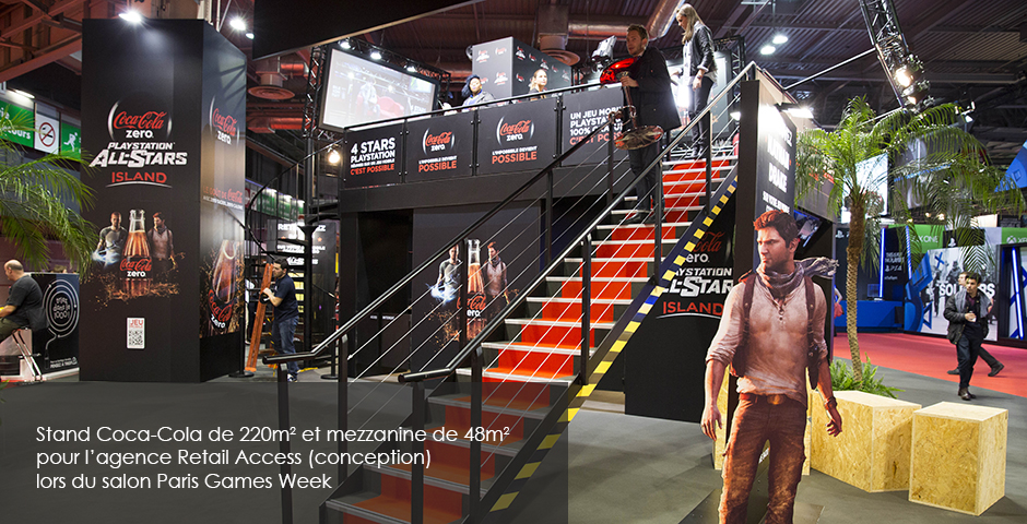 Architecture Ephemere Stand Coca Cola lors de Paris Games Week